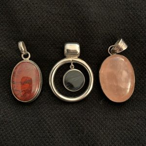 Sterling Silver and Stone Pendants
